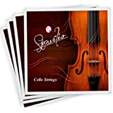 Stravilio Full Set of Cello Strings, Size 4/4 and 3/4 Cello Strings, Steel Core with Alloy Wound, Medium Tension Soft Tone, S