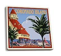 サンディエゴ、カリフォルニア州–Hotel Del Coronado 4 Coaster Set LANT-31805-CT