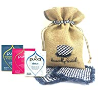 Pukka Organic Tea Variety Pack (40 bags - 10 flavors) in a Beautiful Hand Embroidered Burlap Bag with Two coasters Thank you gift for Teacher