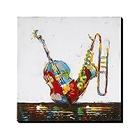 Asmork 100% 手書きアートポスター 絵画 (楽器)インテリアパネル 壁掛け 30*30cm (2)