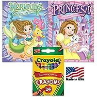マーメイドと黄色ドレスプリンセスカラーリングandアクティビティブック24 Crayolaクレヨンボックス( Pack of 3 )