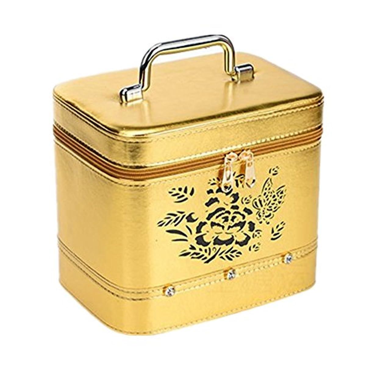 ジョブ説得成功化粧オーガナイザーバッグ ジッパーと化粧鏡で小さなものの種類の旅行のための美容メイクアップのためのポータブル化粧品バッグ 化粧品ケース