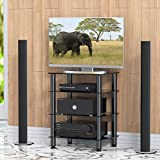 FITUEYES Black TV Media Stand with 4 Glass Component Shelf Storage for HiFi Xbox One Speaker Cable Box PS4 DVD AS406001GB