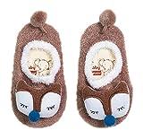 (ビグッド)Bigood かわいい ベビー 赤ちゃん もこもこ 暖かソックス 靴下 アニマル ルームシューズ ファーストシューズ 滑り止め 室内 出産祝い(ブラウンL)