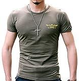 (ガン フリーク) GUN FREAK ミリタリー 半袖 Tシャツ USNV プリント タクティカル サバゲー メンズ トップス ( オリーブドラブ , XL )