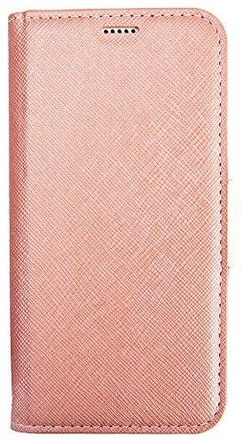 iPhone X ケース 手帳型 Corallo NU マグネット 式 ベルト スタンド 機能 ストラップ 付き スリム 手帳 レザー カバー [ iPhoneX ケース ( 10 ) 専用 ] シャンパンローズ×ホワイト