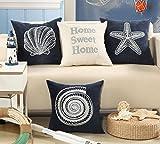 ange select シェル 刺繍 クッション カバー 45 cm 枕 ピロー 北欧 サーフ ハワイアン インテリア (Home Sweet Home)