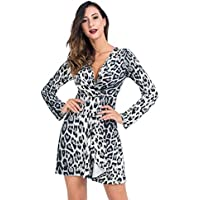 Lomantise Animal-Print Club-Dress Leopard with Low-Cut Long-Sleeve Party-Dress