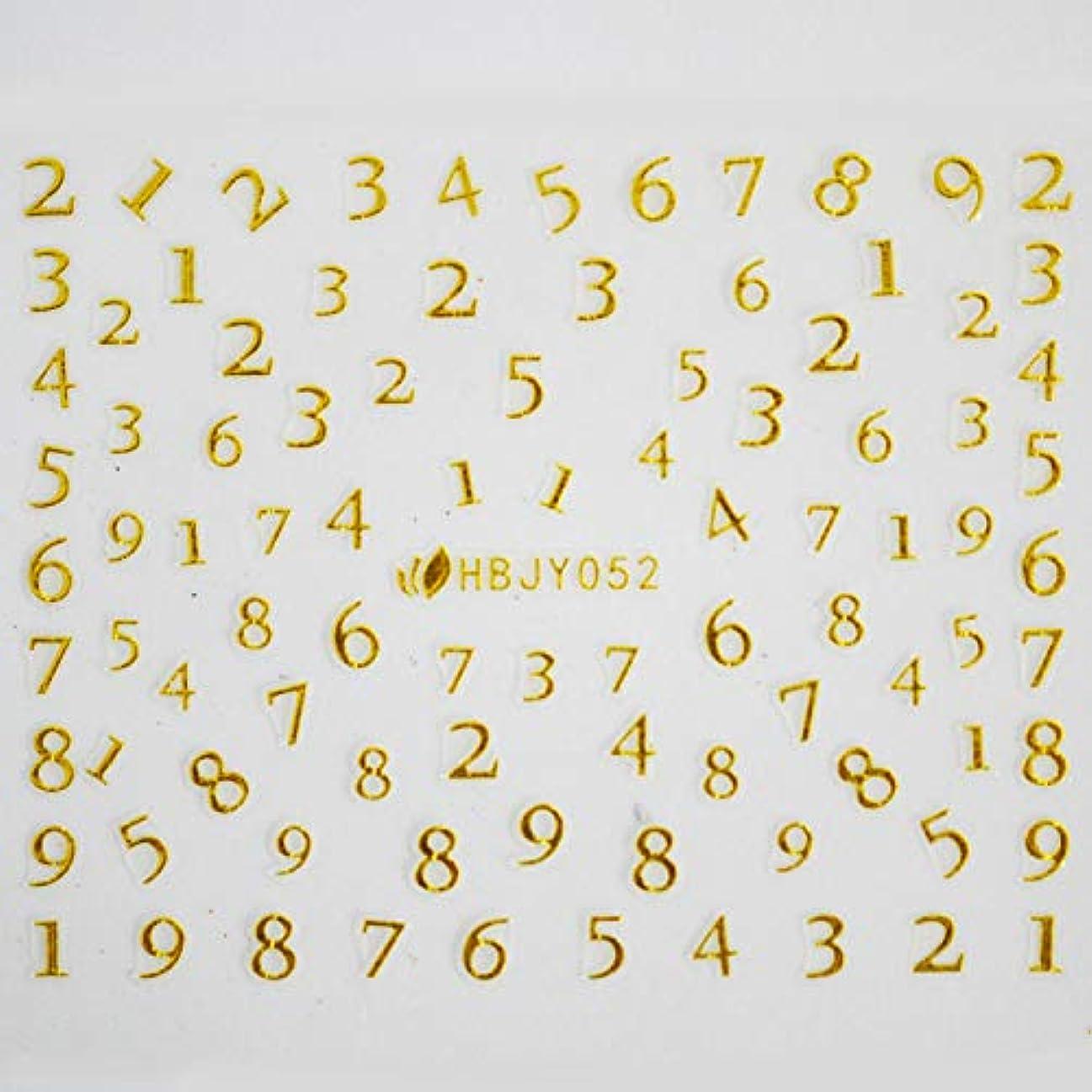 連想優しさヒロインアルファベットやメッセージ柄のネイルシール (数字GOLD)