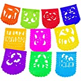 2 Pack Mini Size Mexican Papel Picado Feliz Navidad Xmas Banner - Colourful Tissue Paper 1.8m. Handcrafted Christmas Decoration Multicoloured - 10 Individuals Panel Party Supplies For Weddings, Bi