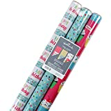 Hallmark Reversible Birthday Wrapping Paper, Balloons 120 sq. ft. Birthday Flowers and Cupcakes