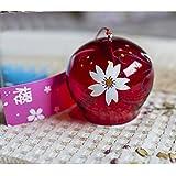 日本風 手作りかわいいガラス風鈴ベルインテリア飾り物レッドの桜のパターン