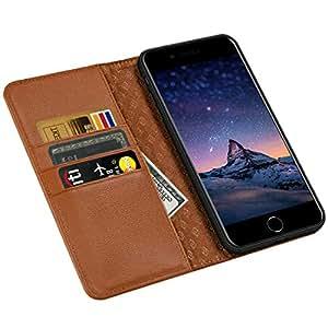 ZOVERR iPhone6s Plus ケース iPhone6 Plus ケース 手帳型 ZOVERR両面マグネット式磁気吸着 本革なカバー アイフォン6 プラス ケース アイフォン6 プラス ケース 手帳型 全面保護 スタンド機能 耐汚れ 耐衝撃 カード収納 ギフトボックス(5.5インチ ブラウン)Brown