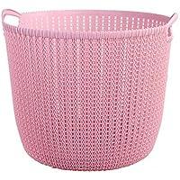ZZHF xiyilan 収納バスケットプラスチックハンパーランドリーバスケットランドリーバスケットバス汚れた服を置くバケツおもちゃボックス収納バスケット バスケット (色 : Pink, サイズ さいず : 20.3 * 15.6 * 16cm)