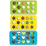 NoYuo チョコレート型 プレート ハート 星 貝がら 3個セット かわいい バレンタインチョコ 手作り DIY チョコ/ゼリー/クッキー/氷/石鹸/キャンドル 多用途 FDA認証済み シリコン型 15取り