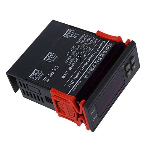 SODIAL(R)10A 110Vミニデジタル温度コントローラー 熱電対-58~194華氏 センサー付き