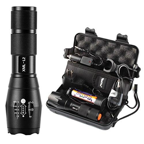 Relybo® 懐中電灯xm-l2 led 懐中電灯 強力 軍用 最強 超高輝度 1200ルーメン 防水明るい 高光度 18650 充電式電池