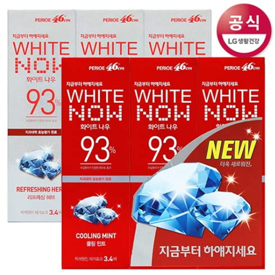 少年インサートエチケット[LG HnB] Perio White Nau Toothpaste/ペリオホワイトナウ歯磨き粉 100gx6個(海外直送品)