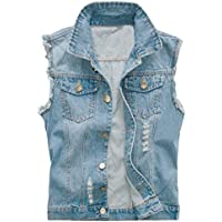 Camo Coll Men's Sleeveless Lapel Denim Vest Jacket