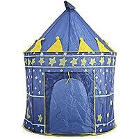 折りたたみ式子供Fairy Castle Tent Play HouseアウトドアインドアPop Up CubbyキャノピーToy Kidsブルー
