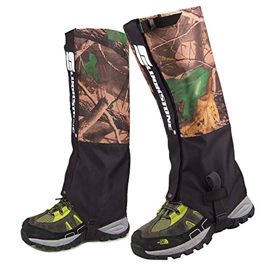 繰り返す後悔彫る防水靴カバー レインシューズは、足のゲイター防水迷彩ハイキングゲイターを耐久性のあるレギンスゲイター通気性の高いレッグカバーラップマウンテンスキートレッキングウォーキング登山狩猟 - 1ペアの靴カバー雨雪