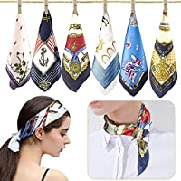 6 pcs Women's Silky Fashion Small Square Satin Scarf Mixed Neck Head Scarf Set 19.7 x 19.7 inches