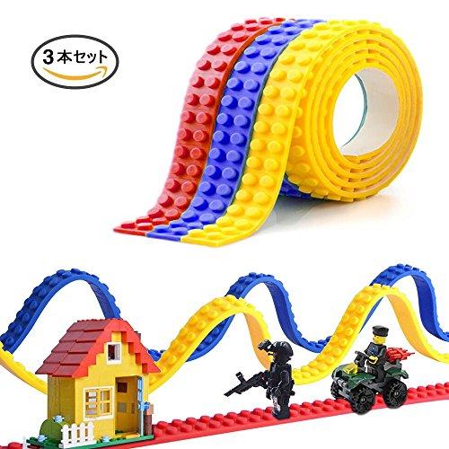 EpochAir レゴ (LEGO) ブロックテープ 切れる 貼れる 曲がる シリコンブロックテープ 水洗い可能 貼り直すでき ブロッテ 知育玩具 アクセサリー 3本セット 100cm/本