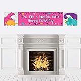 Big Dot of Happiness Roar 恐竜の女の子 - 恐竜のダニ Tレックス 誕生日パーティーデコレーション パーティーバナー