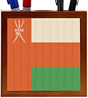 Rikki Knight Oman Flag on Distressed Wood Design 5-Inch Wooden Tile Pen Holder (RK-PH8764) [並行輸入品]
