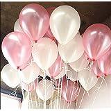 メイハウス 10インチ 加厚風船 光沢 ラテックス風船 バルーン パーティー お誕生日会 結婚式 装飾 48個セット  (ピンク/白 )
