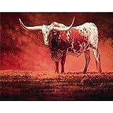 LovetheFamily 数字油絵 数字キット塗り絵 手塗り DIY絵 デジタル油絵 赤牛 40x50cm ホーム オフィス装飾