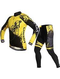 長袖 サイクルウェア, Lixada サイクルジャージ 上下セット 春秋用 自転車服 ウェア スポーツウェア おしゃれ サイクリング 通気速乾 品質保証 3Dパット付き 男女兼用