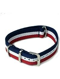 ノーブランド品 NATOタイプ ナイロン ストラップ 替え バンド 紺白赤 (ネービー ホワイト レッド : 20mm ) 腕時計 ベルト