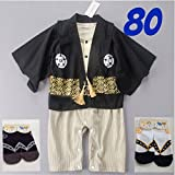 PS BABY 草履ソックス2枚付き 羽織 紋付 袴風 ロンパース お宮参り (80)