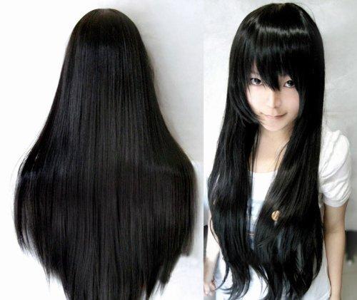 黒髪 ロング ストレート ウィッグ 3点セット コスチューム用小物 80cm