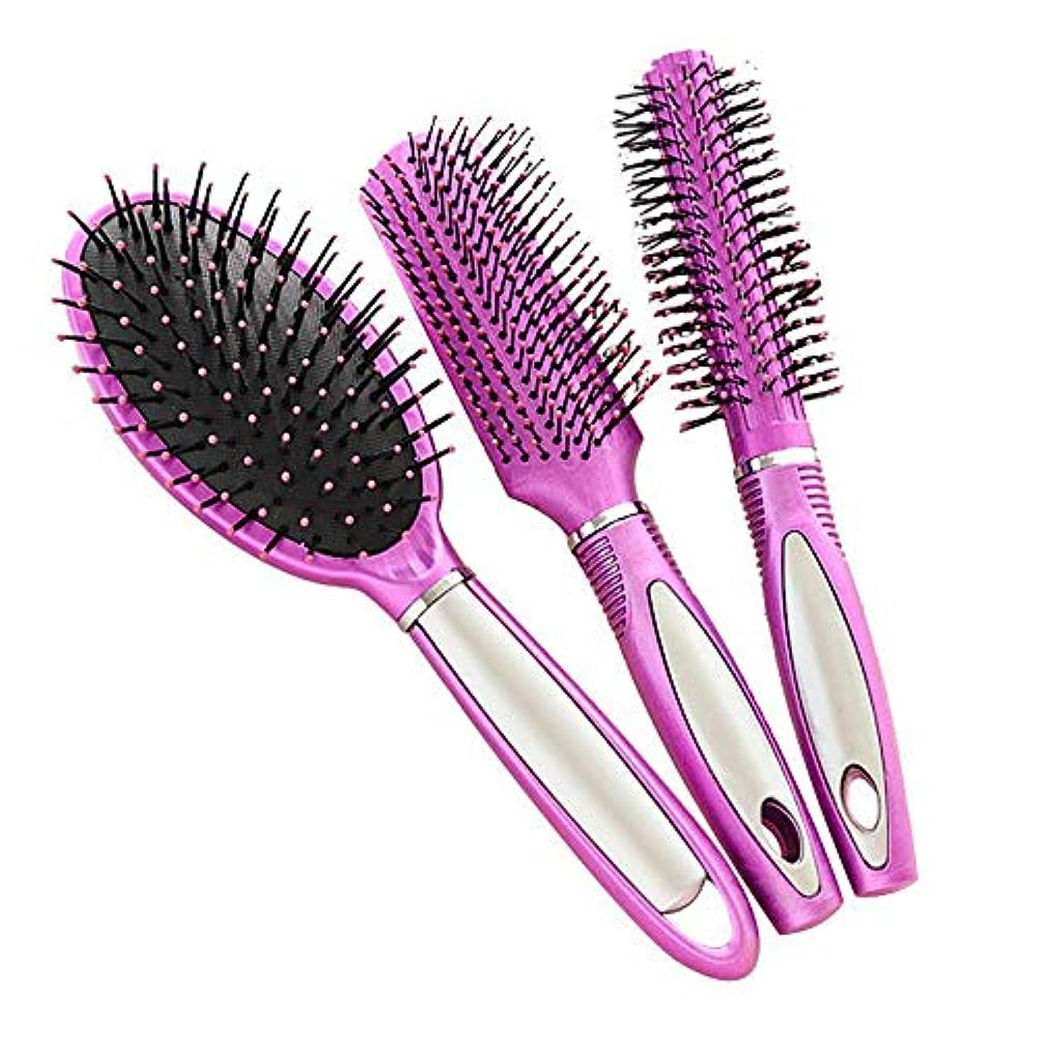 センターロータリー割り当てる帯電防止プラスチック製のヘアブラシ、すべての髪の種類のためのヘアマッサージDetangler(3PCS)