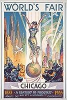 シカゴ万国博覧会ポスター–Woman on Globe 12 x 18 Art Print LANT-44077-12x18