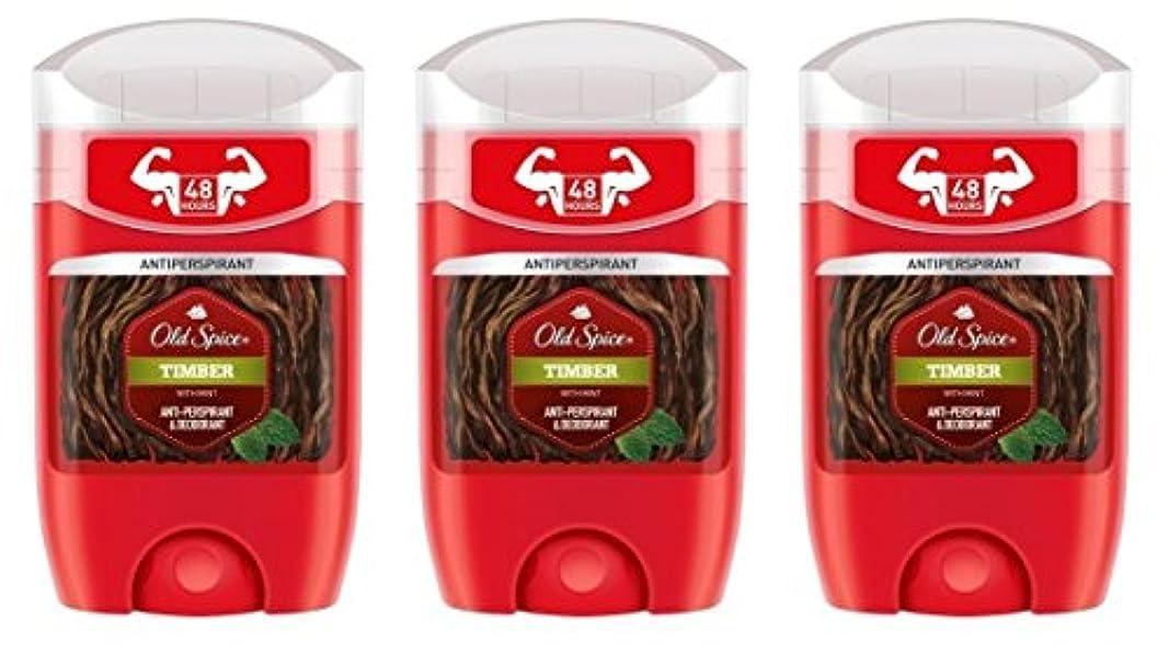 統治可能強調マート(Pack of 3) Old Spice Timber with Mint Antiperspirant Deodorant Solid Stick for Men 3x50ml - (3パック) オールドスパイス木材...