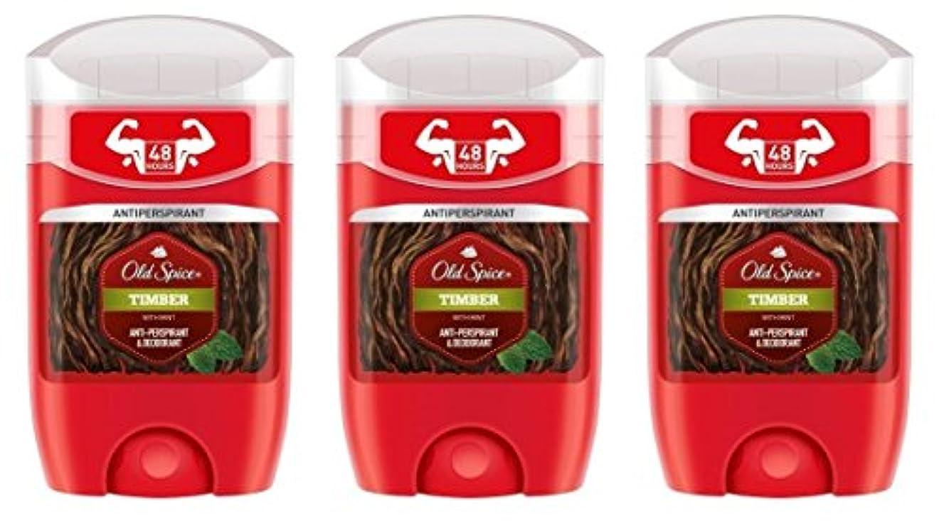 立法テメリティすばらしいです(Pack of 3) Old Spice Timber with Mint Antiperspirant Deodorant Solid Stick for Men 3x50ml - (3パック) オールドスパイス木材...