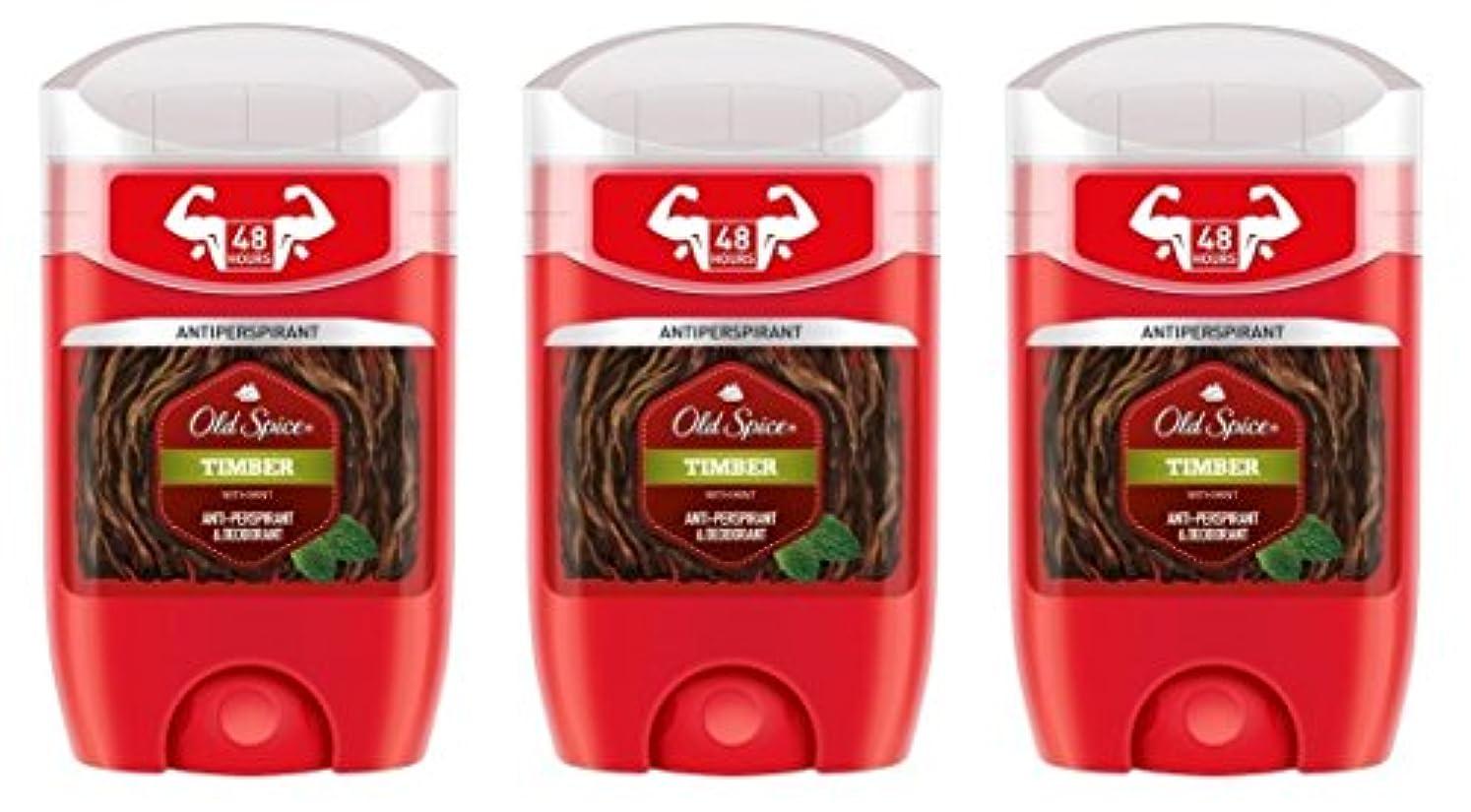 昼寝時折バルコニー(Pack of 3) Old Spice Timber with Mint Antiperspirant Deodorant Solid Stick for Men 3x50ml - (3パック) オールドスパイス木材...