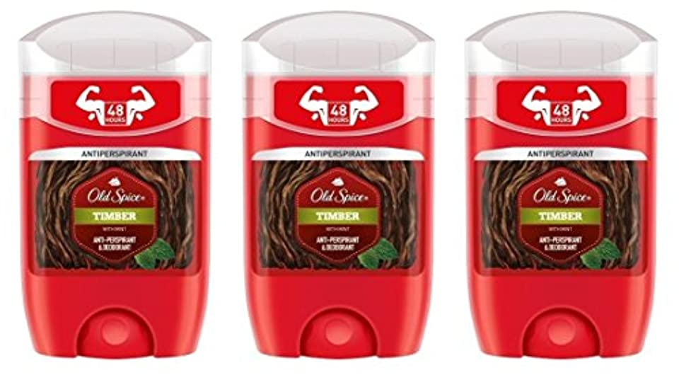 摘む打ち負かすまっすぐにする(Pack of 3) Old Spice Timber with Mint Antiperspirant Deodorant Solid Stick for Men 3x50ml - (3パック) オールドスパイス木材...