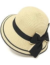 Ruiyue 夏ストロー帽子、ファッションサンプロテクションビーチアウトドアフロッピー夏サンビーチ帽子女性レディース (色 : Beige)