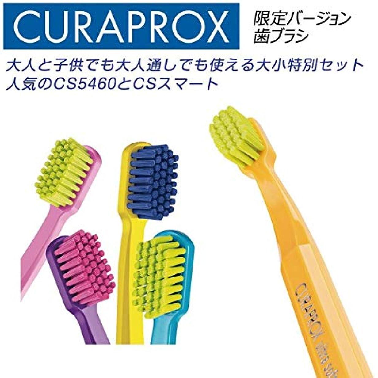 センター割り込み顔料クラプロックス 歯ブラシ CS5460 ファミリーエディション黄緑+ピンク