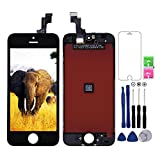 Apple iPhone 5S/SE 液晶スクリーン 修理交換用フロントパネル、ガラスパネル、スマホ液晶タッチパネル、液晶スクリーン、高品質iphoneスクリーン修理 修理工具と強化ガラス保護フィルム付き (iPhone 5S/SE ブラックだけに適用) Dalkat Dalee