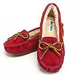(ミネトンカ)MINNETONKA 靴 モカシン キャリー スリッパ スウェード スエード ファー ボア レザー ぺたんこ靴 CALLY SLIPPER 4016 RED レッド 7インチ レッド