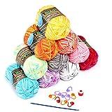 LIHAO 毛糸 50g±2g玉巻(約160m) 全10色 段染タイプ カラフル アクリル 棒針キャップ かぎ針 段数マーカー付き クリスマスプレゼント