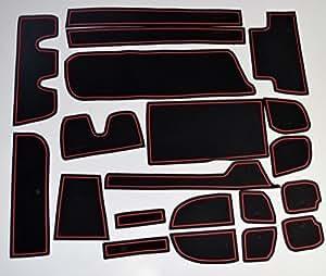 KINMEI(キンメイ) ホンダ 新型ステップワゴン RP型 赤 専用設計 インテリア ドアポケット マット ドリンクホルダー 滑り止め ノンスリップ 収納スペース保護 ゴムマットHONDA Step wgnrpr