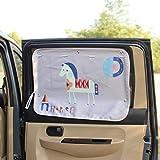 FECHO 車用遮光サンシェード チャイルドシート用サンシェード 車用 日よけ カーテン 断熱 カーテン 遮光 UVカット後部座席 吸盤式 可愛い子供 ベビー 子供 ベビー