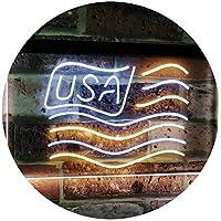 USA Flag Decoration United States of America Bar Beer Pub Club Dual Color LED看板 ネオンプレート サイン 標識 白色 + 黄色 300 x 210mm st6s32-i3068-wy