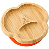 Baby Toddler Suction Plate, Suction Stay Put Feeding Plate, Natural Bamboo (Orange)